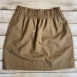 J. Crew City Mini Skirt Khaki Tan Paperbag Waist